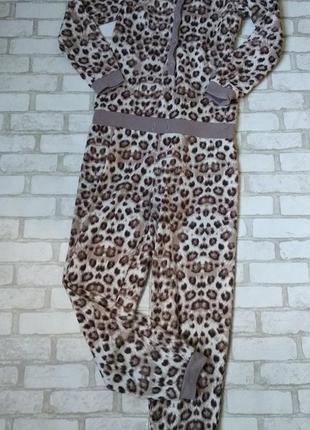 Махровый кигуруми слип пижама женская леопардовая