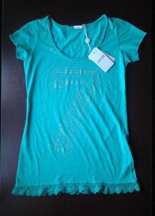 Новая хлопковая футболка туника justor италия на наш 42-44