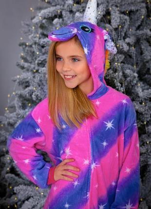 Пижама кигуруми галактический единорог комплект домашний костюм взрослый детский