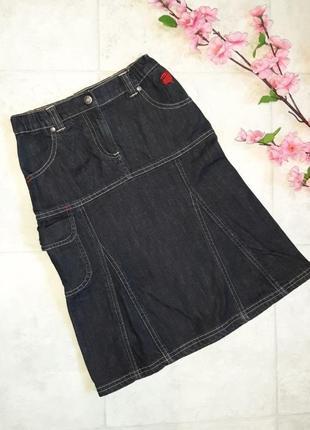 1+1=3 фирменная джинсовая плотная юбка с карманами jako-o на девочку 9 - 10 лет