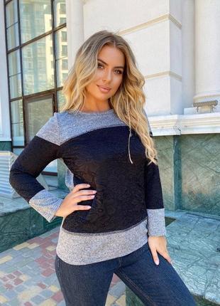 Туника женская гипюр свитер