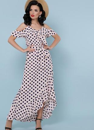 Стильное длинное платье в горох