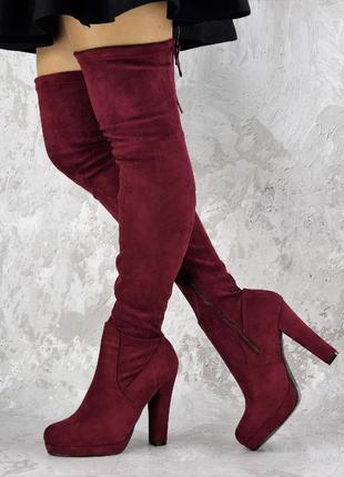 Женские бордовые ботфорты из замши красные на каблуке сапоги 63 см от пола