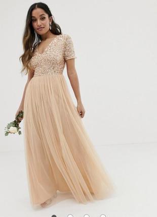 Платье макси персикового цвета с v-образным вырезом и пайетками maya petite bridesmaid