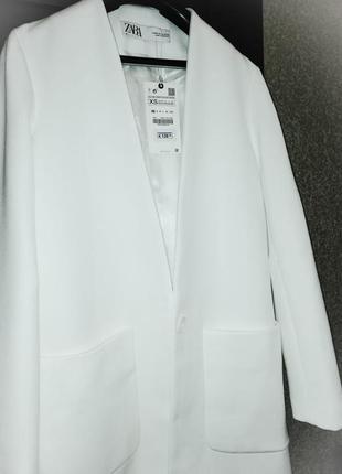 Белое пальто, длинный пиджак zara
