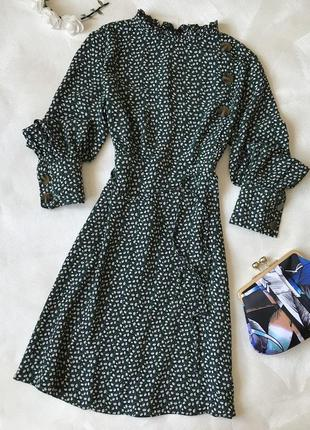 Платье длинный рукав зелёное пуговицы цветы осень primark