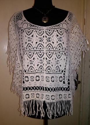 Натуральная,хлопок-кружева-шитьё,эффектная,молочная блузка-топ,бохо,оверсайз,r&f
