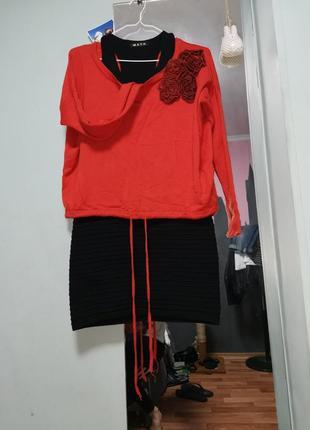 Костюм платье кофта свитер вязаный оверсайз