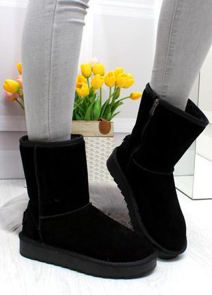 Модные черные средние женские угги на молнии из натуральной замши