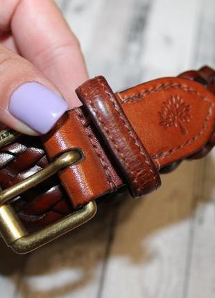 Кожаный плетенный  пояс ремень mulberry англия