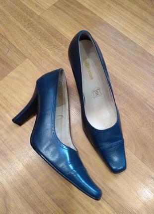 Blue motion синие кожаные туфли лодочки
