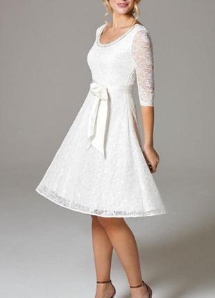 Короткое свадебное платье для росписи кружевное с рукавом а-силуэта закрытое