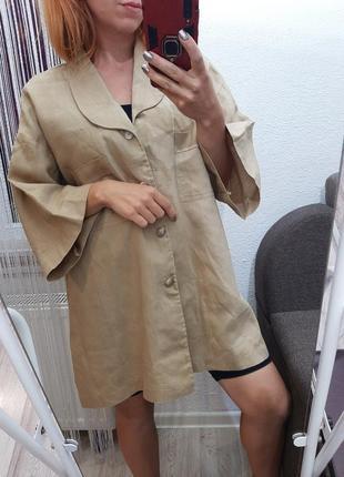 Льняной пиджак, жакет oversize оверсайз льон