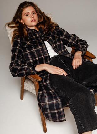 Шерстяное пальто в клетку пиджак рубашка зима осень