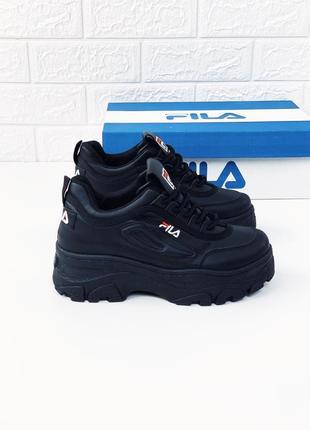 Кроссовки женские fila черные кросовки фила кросівки філа кожа
