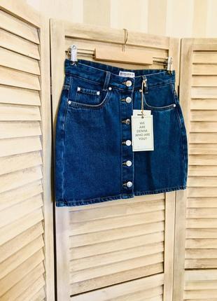 Юбка pull&bear джинсовая на пуговицах