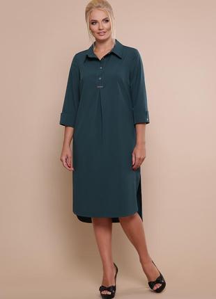 Батальное платье рубашечного кроя