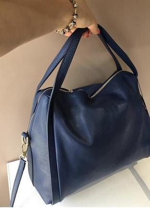 Сумка кожаная мягкая удобная borse in pelle шкіряна новая кожа шоппер синяя синий