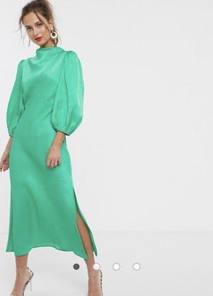 Миди атласное платье с объемными пышными рукавами asos
