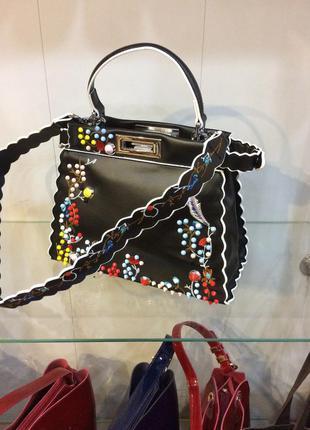 Чёрная сумочка фенди,дизайнерская сумочка,сумка из натуральной кожи,кожаная сумочка