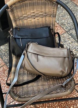 Женская кожаная сумка на через плечо кросс-боди чёрная капучино жіноча шкіряна