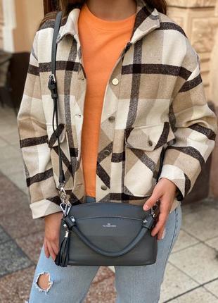 Женская кожаная сумка через на плечо polina & eiterou чёрная серая жіноча шкіряна чорна