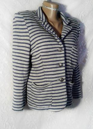 Хлопковый пиджак в полосочку морском стиле (l, xl)