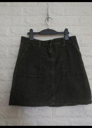 Вельветовая женская юбка хаки от next