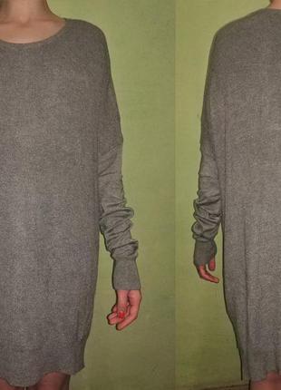 Тонкое вязаное платье оверсайз с замком на спине h&m zara mango