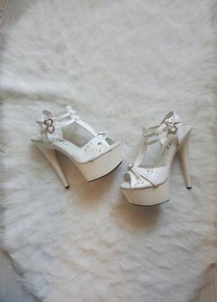 Белые туфли босоножки для стрипа пулл денс на высоком каблуке платформе шпилька
