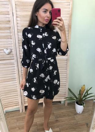 Платье-рубашка new look в розах вискоза1 фото