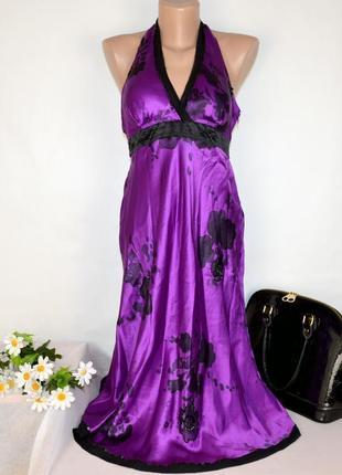 Брендовое фиолетовое нарядное вечернее макси платье oasis бисер паетки принт цветы