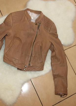 Кожанка косуха куртка рыжая коричневая от h&m модная курточка s натуральная кожа 🌸