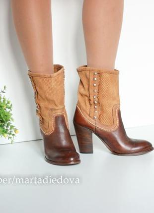 Кожаные ботинки полусапожки ботильоны казаки,бренд kobra vero cuoio