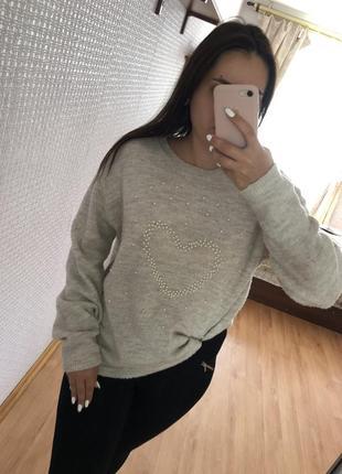 Свитер пуловер оверсайз oversize серый худи1 фото