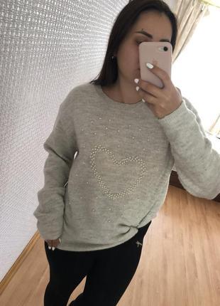 Свитер пуловер оверсайз oversize серый худи3 фото