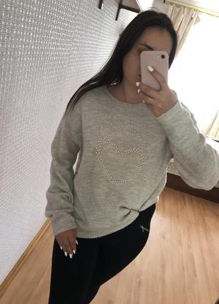 Свитер пуловер оверсайз oversize серый худи2 фото