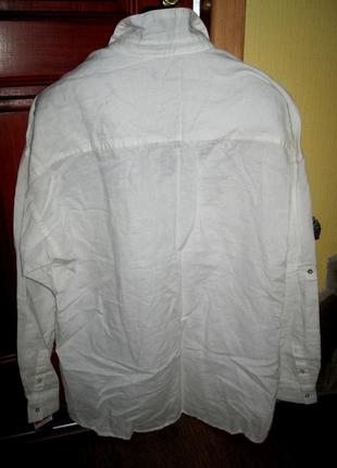 Рубашка mango,белая,раз l,55%льна,45%хлопка4
