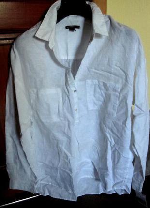 Рубашка mango,белая,раз l,55%льна,45%хлопка5
