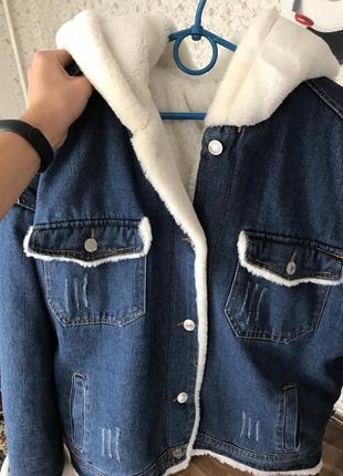 Джинсовая куртка с мехом1 фото
