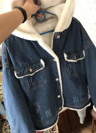 Джинсовая куртка с мехом2 фото