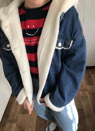 Джинсовая куртка с мехом5 фото
