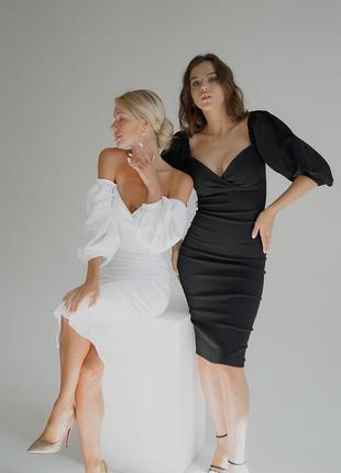 Вечернее платье с декольте рукав волан фонарь рукава фонарики миди сукня рукав ліхтарі