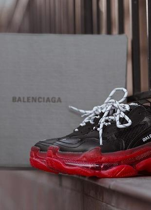 Кроссовки balenciaga triple s clear sole black/red.