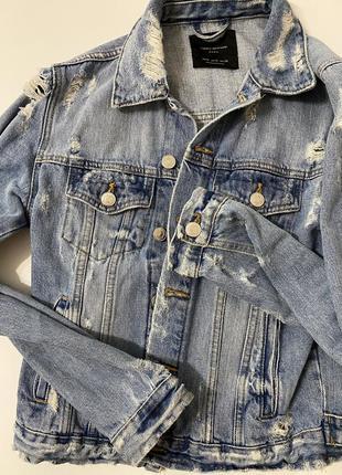 Джинсовый пиджак джинсовка zara