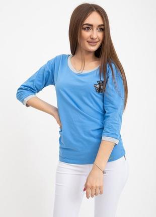 Свитшот женский 133r7740 цвет голубой1 фото