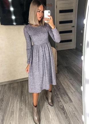 Платье женское теплое с высокой посадкой средней длины