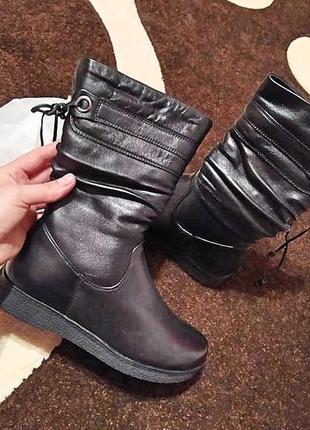 Шкіряні зимові чоботи1 фото