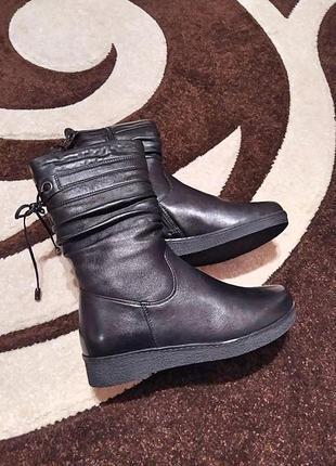 Шкіряні зимові чоботи3 фото