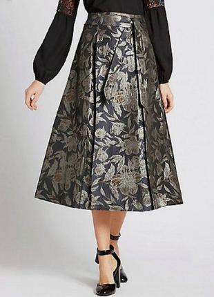 Роскошная жаккардовая миди юбка р. 10 м1 фото